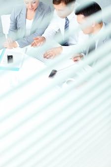 High angle of executives preparing the presentation