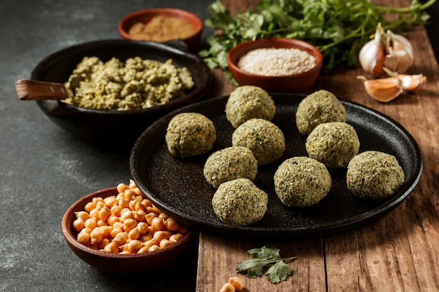 High angle falafel and chickpeas