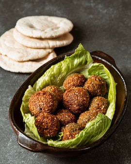 High angle falafel and pita bread arrangement