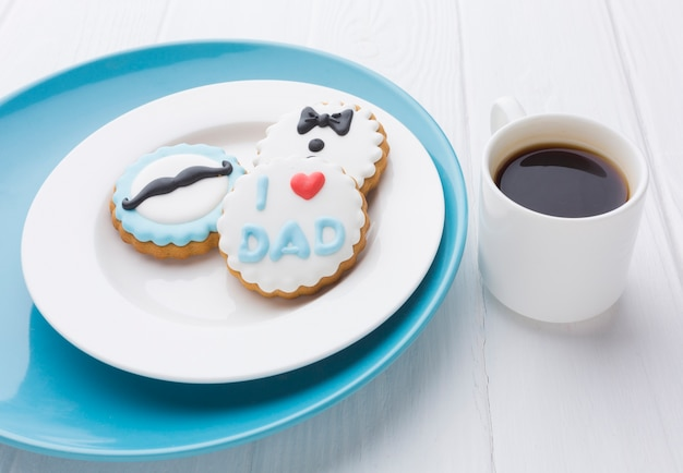 High angle father's day cookies