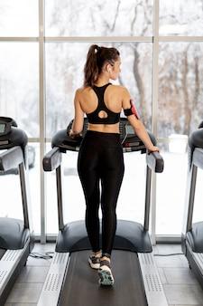 High angle female training on treadmill