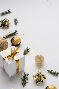 High angle festive christmas ornaments with copy space