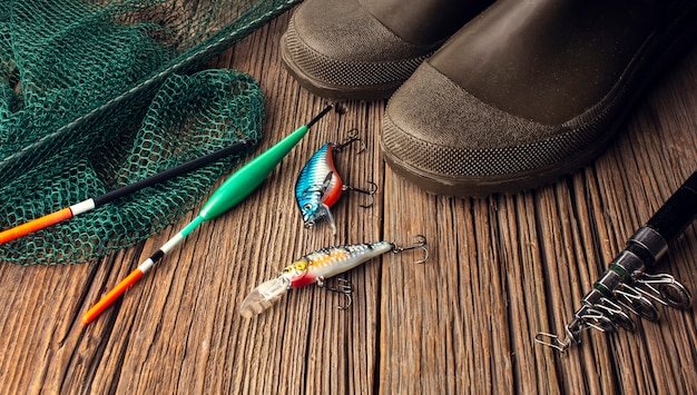 High angle of fishing essentials