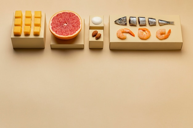 ハイアングル準菜食主義のダイエットフレーム