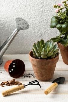 高角度の植木鉢とツール