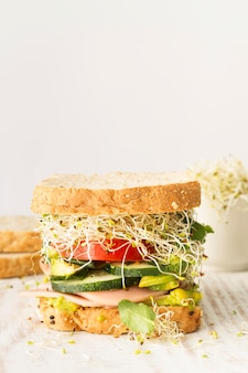 High angle fresh sandwich