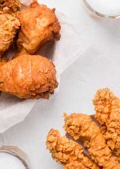High angle fried chicken pieces