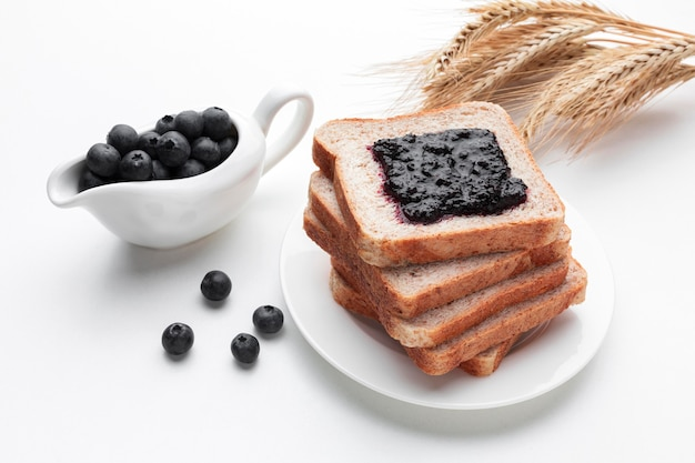High angle fruit jam on bread