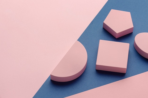 High angle of geometric forms with copy space