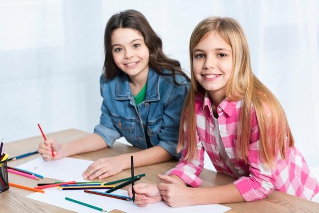 High angle girls coloring