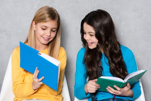 High angle girls reading
