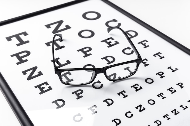 High angle of glasses on letters