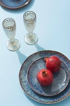 High angle glasses and pomegranate