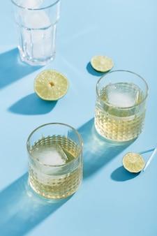 High angle glasses of tasty lemonade