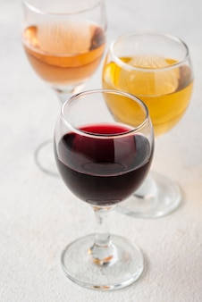High angle glasses with wine assortments