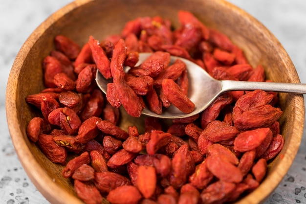 High angle of goji berries in bowl