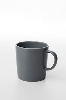 High angle grey coffee mug