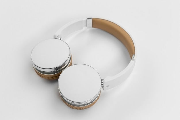 High angle headphones on white background