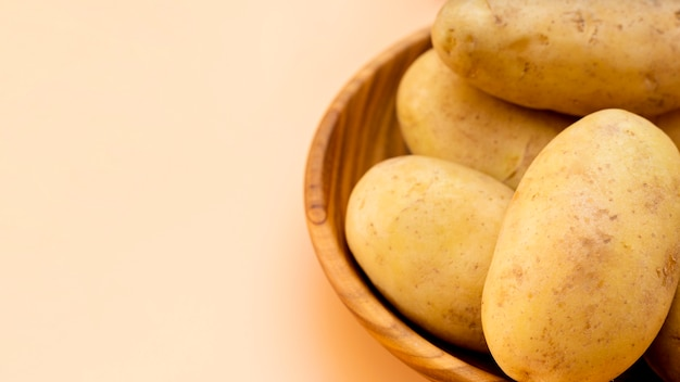 High angle healthy potatoes in bowl