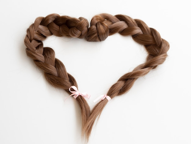 High angle heart shaped braids with ribbons