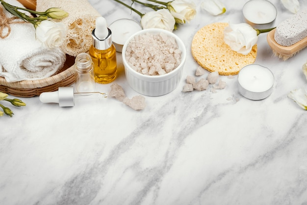 High angle homemade treatment ingredients