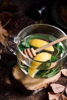 High angle hot water with lemon