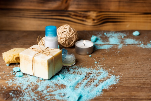 High angle hygiene products with wooden background