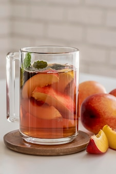 High angle ice tea peach aroma