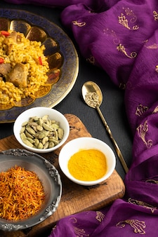 High angle indian dish with spices