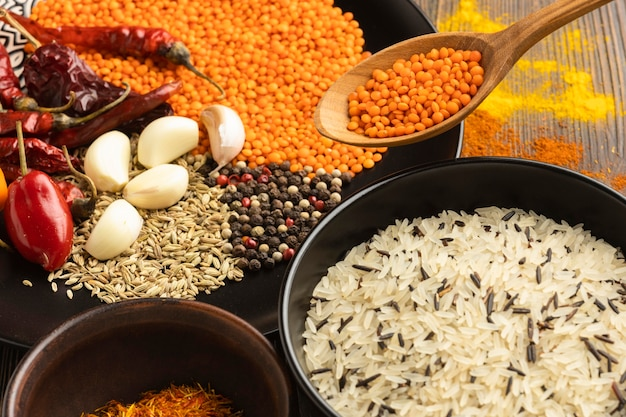 High angle indian spices arrangement