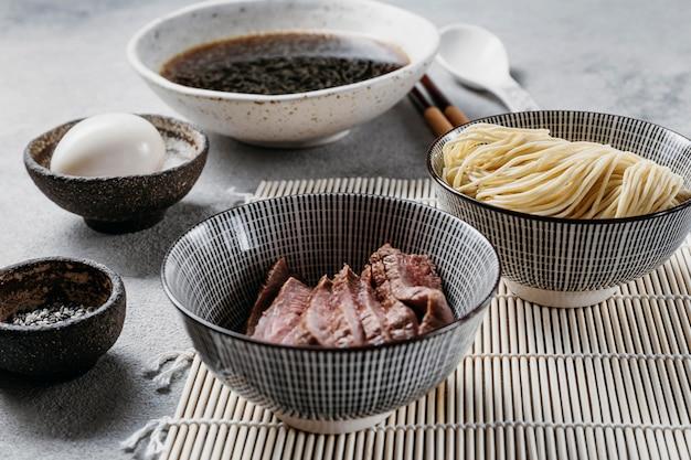 High angle japanese dish composition