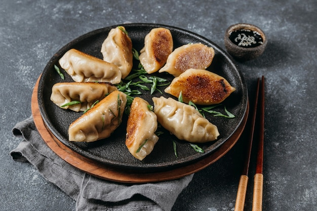 High angle japanese dumplings assortment