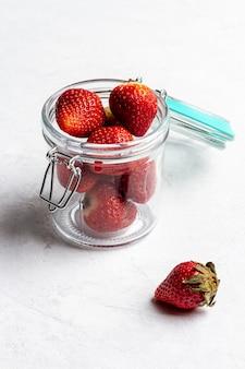 High angle jar with strawberries