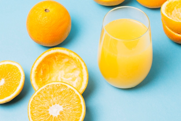 High angle juice made of oranges in glass
