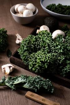 High angle kale salad and mushrooms