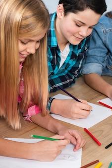 High angle kids coloring