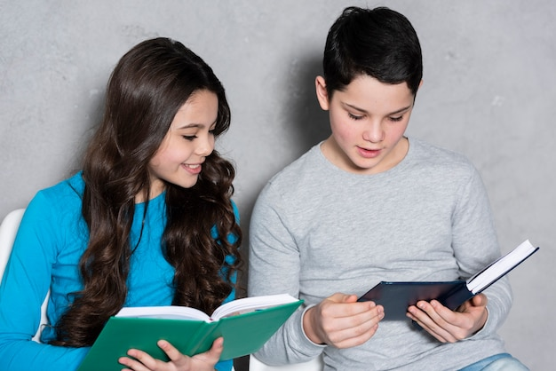 High angle kids reading