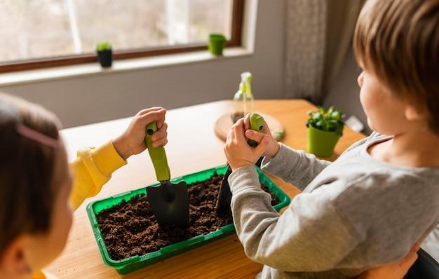 Elevato angolo di bambini che innaffiano i raccolti a casa