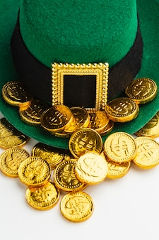 High angle leprechaun hat and coins