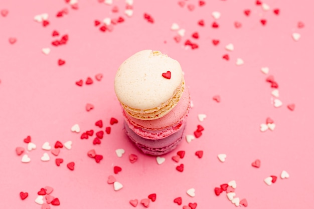 High angle of macarons for valentines day with hearts