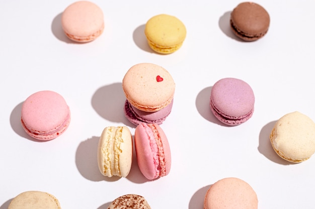 High angle of macarons for valentines day