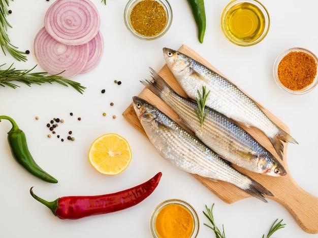 High angle mackerels with seasoning