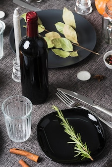 High angle meal arrangement with wine