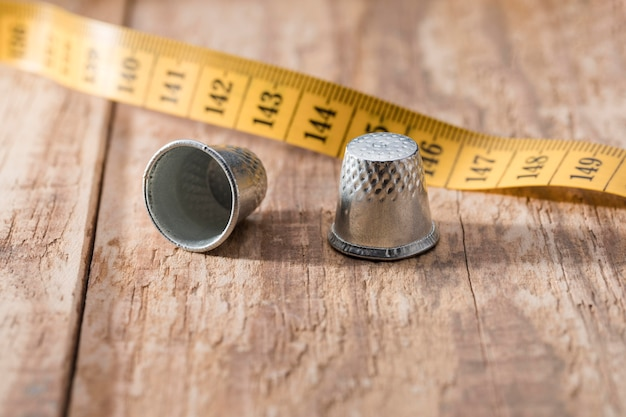 High angle of measuring tape with thimbles