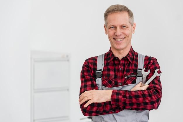 High angle mechanic man
