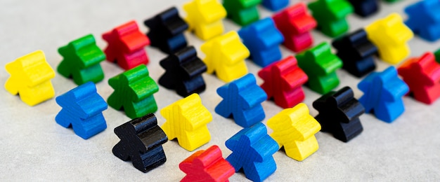High angle meeple board game pieces