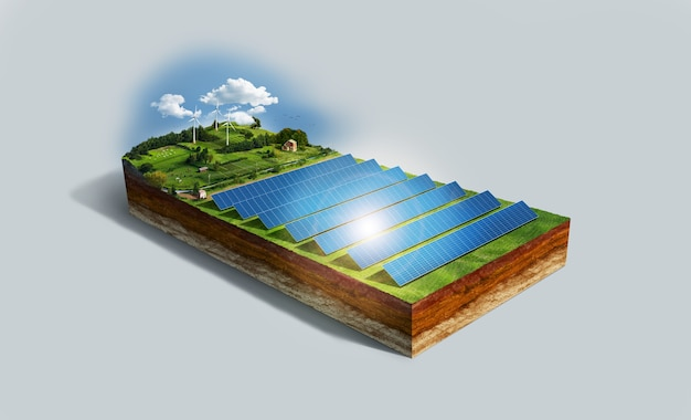 High angle of model for renewable energy with solar panels