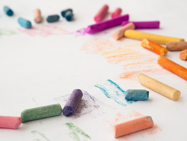 High angle of multicolored chalk