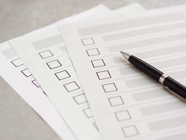 High angle multiple election questionnaires with black pen