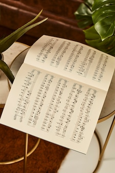 High angle of music sheet on the table